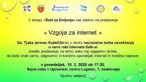 Vabilo na predavanje Vzgoja za internet, 10. 2. 2020